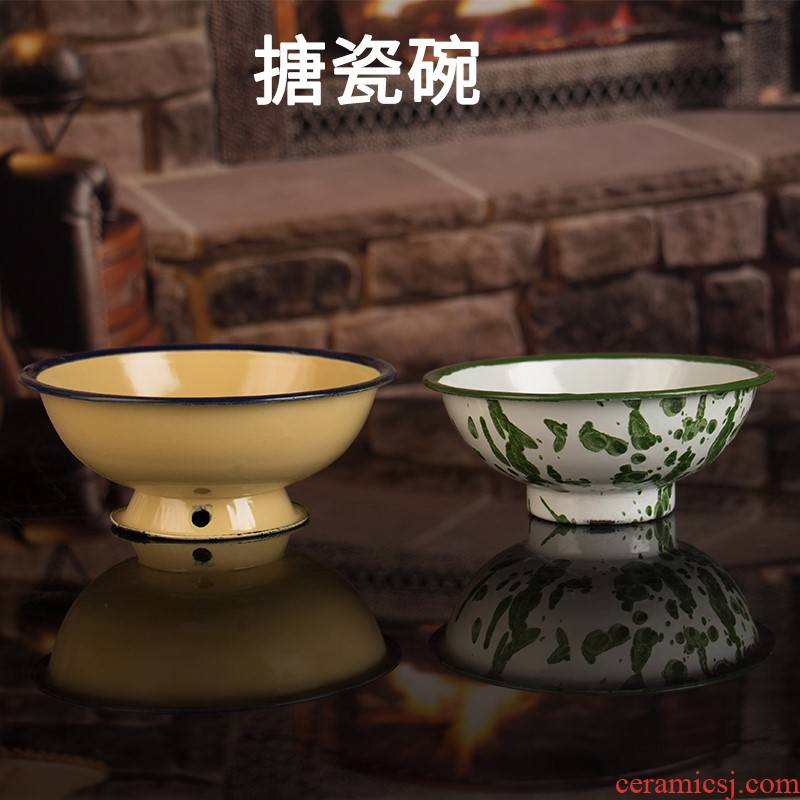 Enamel bowls of household noodles soup bowl bowl salad bowl of beef noodles, li riceses leave nostalgic classic theme bowl restaurant