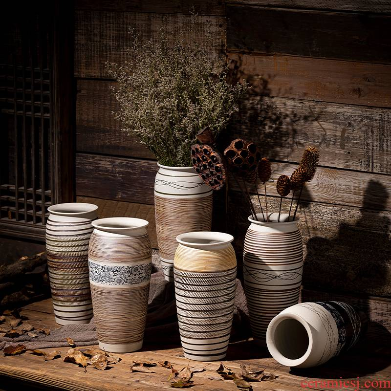Place flowerpot jingdezhen ceramic vase water restoring ancient ways keep lucky bamboo lily flowers planted dry vase sitting room living room