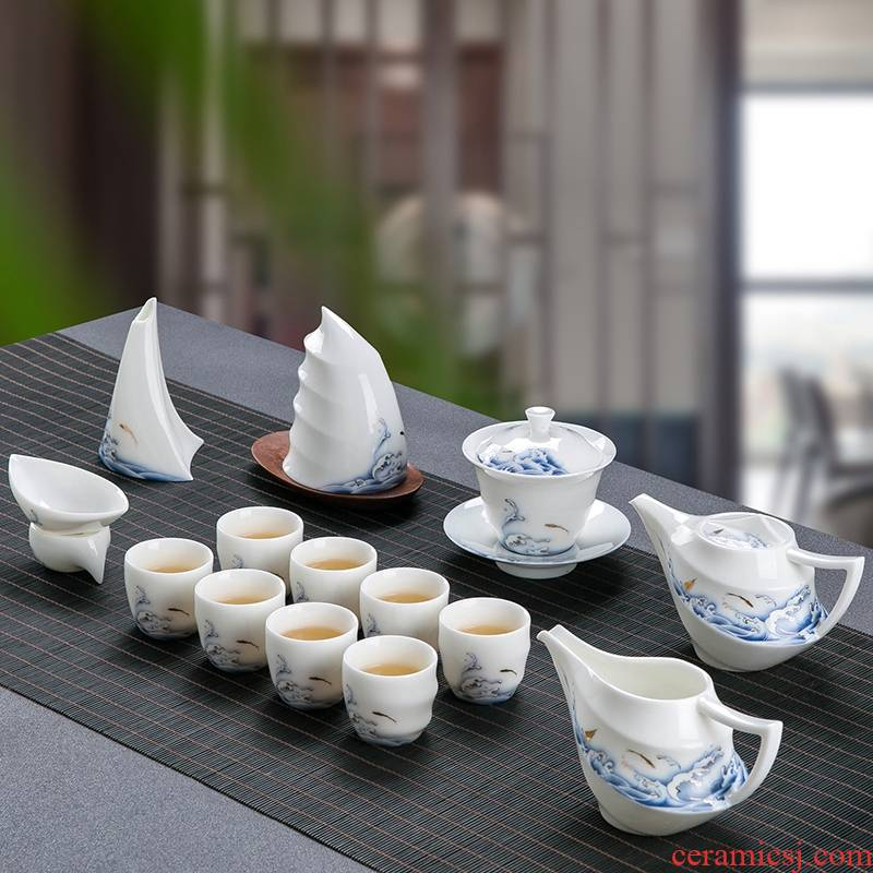 Jingdezhen suet jade kung fu tea set suit household Chinese tea cup lid bowl sitting room of a complete set of chinaware