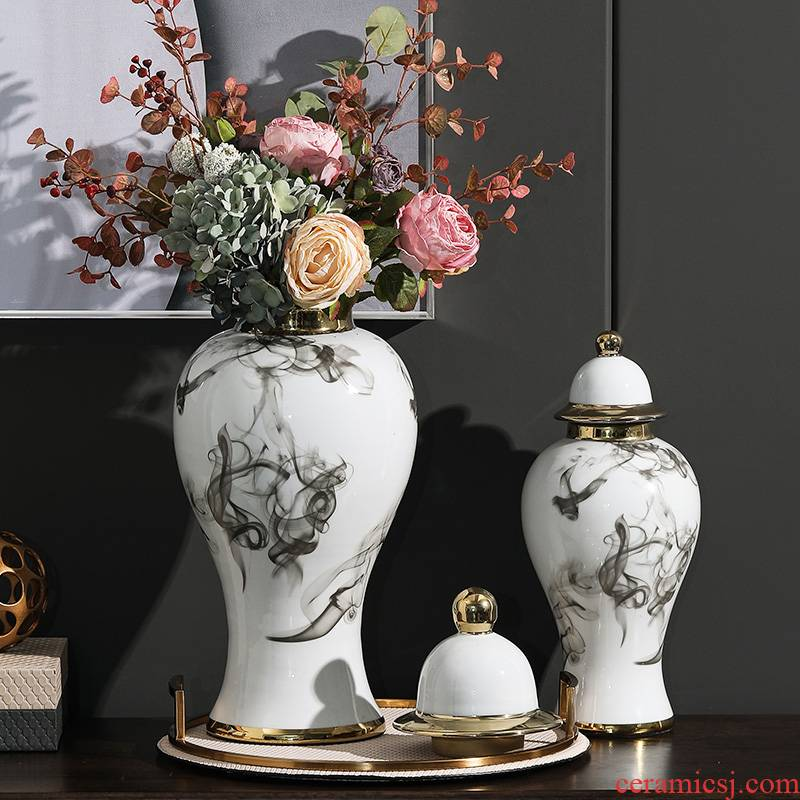 The rain tong home sitting room place between example adornment ornament general ink pot ceramic vase ceramic furnishing articles