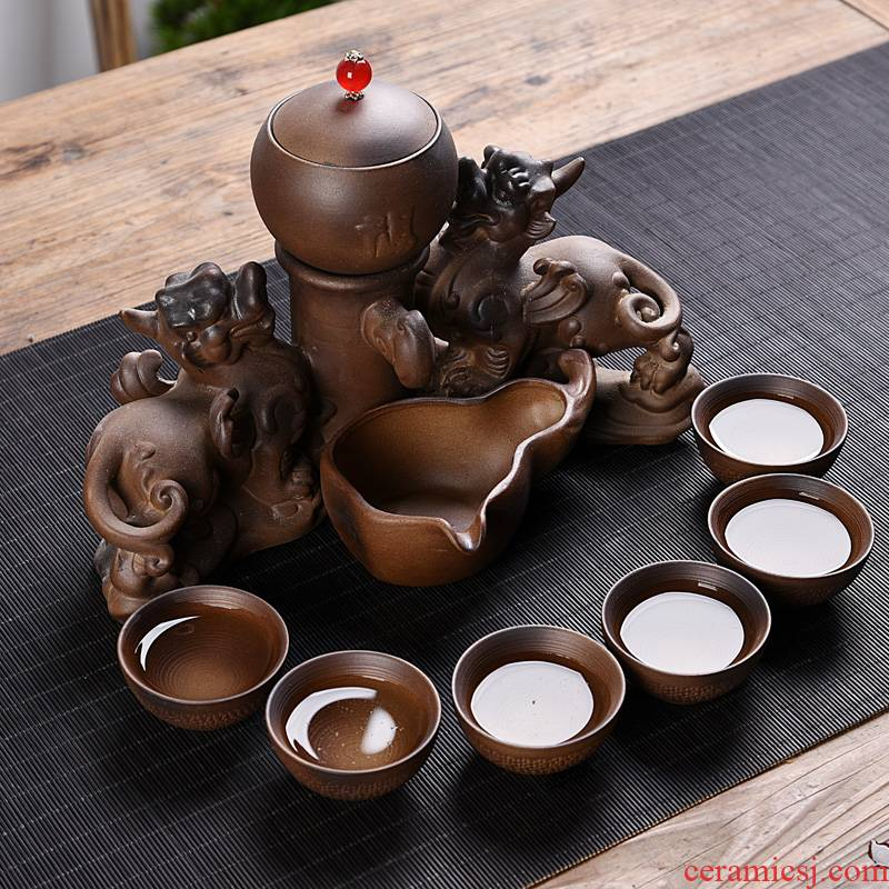 Hui shi semi automatic restoring ancient ways fit the lazy household contracted kung fu tea set firewood ceramics teapot teacup