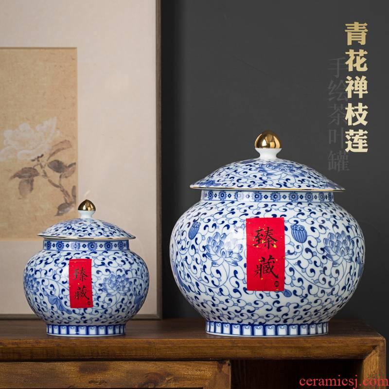 Jingdezhen hand - made bound lotus flower blue and white porcelain tea pot seal pot loose tea storage POTS store receives puer tea