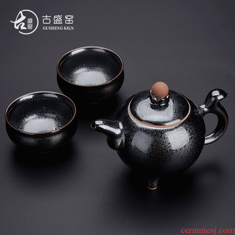 Ancient master sheng up Chen Weichun star crack cup red glaze, a pot of two glass ceramic portable travel make tea tea set