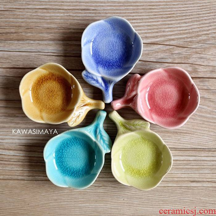 Qiao mu CDW Japanese - style fresh candy color ceramic flower flavor dish with chopsticks rack pillow dual plate tableware