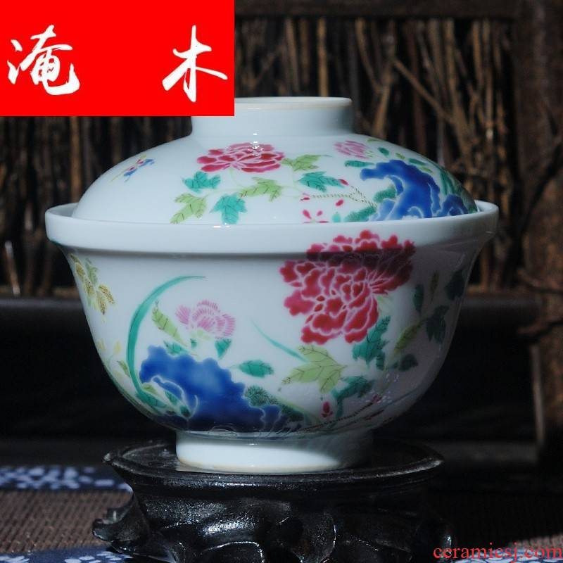 Submerged wood jingdezhen checking ceramic tea set hand - made famille rose bowl no ipads tureen archaize ceramic tea set three