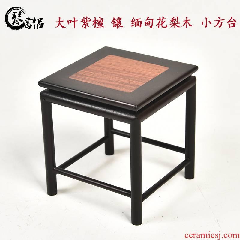 Pianology picking hua limu annatto dyu rosewood with Burma furnishing articles base small bonsai solid wood square shelf