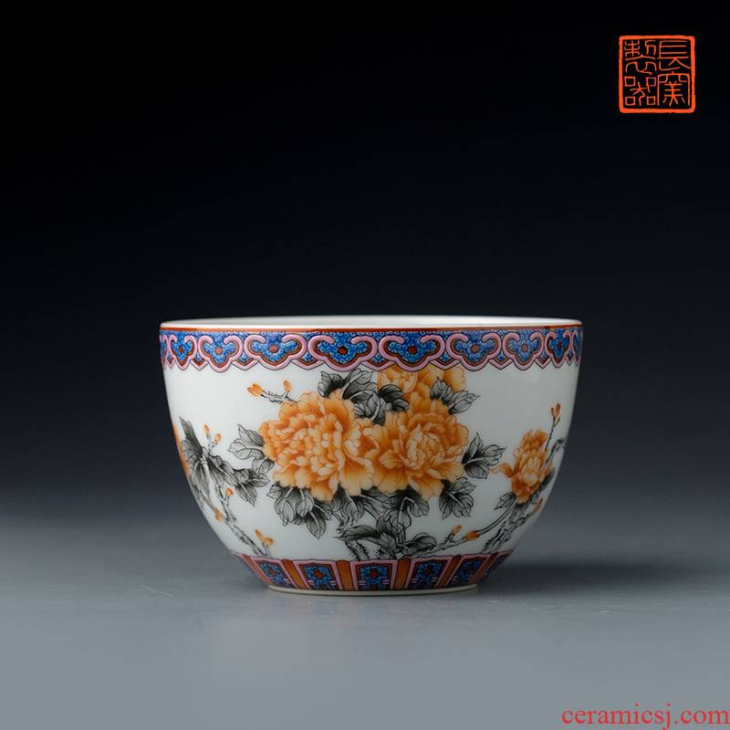 Offered home - cooked hand - made color ink in the view of alum red peony grains taste sample tea cup of jingdezhen ceramic cups tea by hand