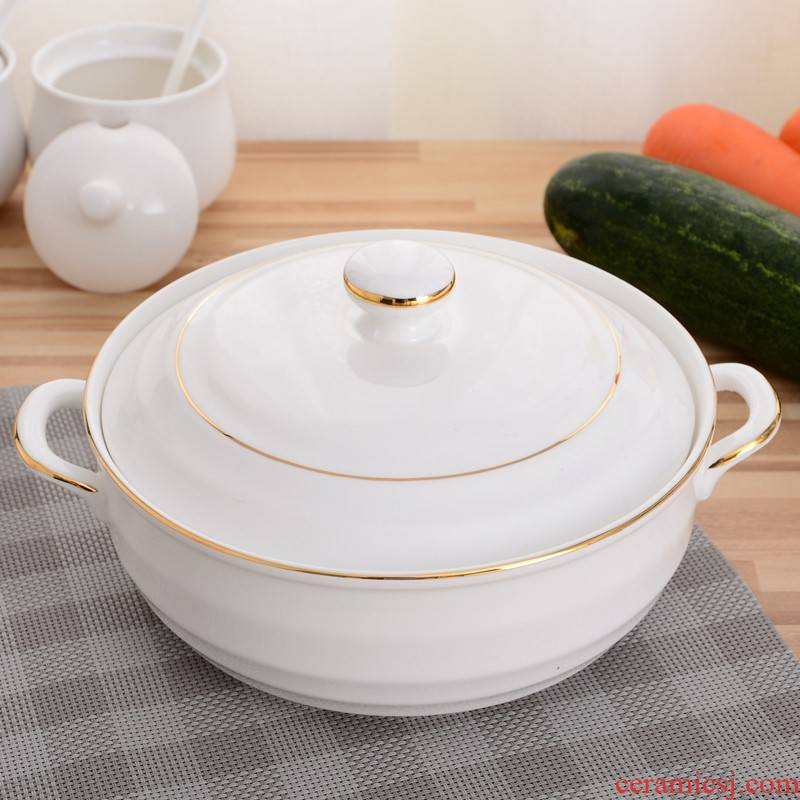 Ceramic bowl big nest creative supersize them pure white, large capacity of rice soup bowl of soup basin of microwave oven