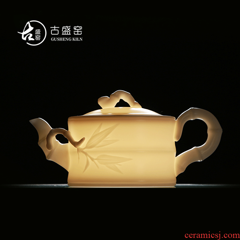 Ancient sheng up new white porcelain teapot checking bamboo without glaze, jade porcelain small single pot of household kung fu gift boxes