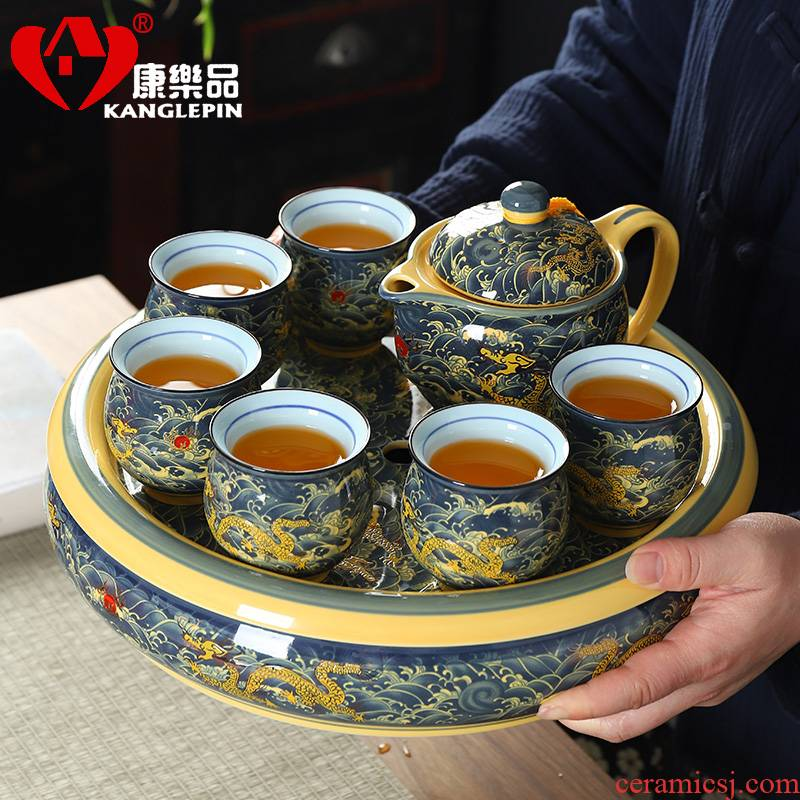 Recreational product double anti hot tea set home sitting room of a complete set of kung fu tea set ceramic teapot teacup tea tray