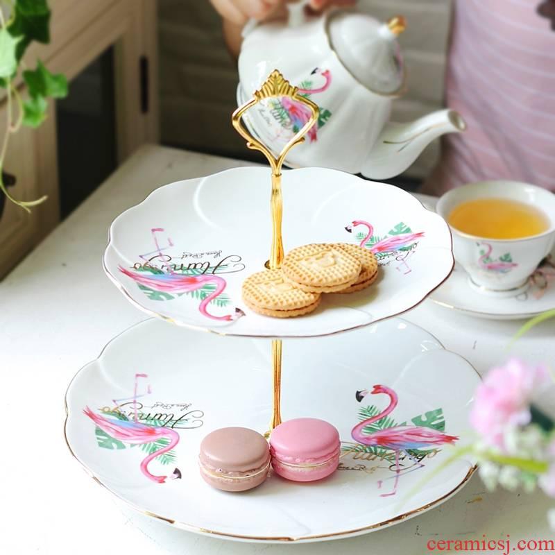 Qiao mu fruit bowl sitting room creative household modern ceramic cake double disc dessert dry fruit tray afternoon tea