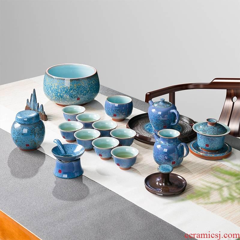 Red glaze up kung fu tea set suit of jingdezhen ceramic teapot suit visitor office tureen tea cup