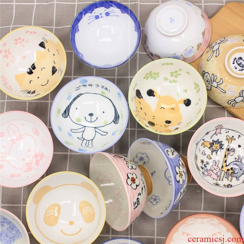TongMeng collect express to use children eat small bowl imported from Japan ceramic tableware household rice bowls cartoon soup bowl