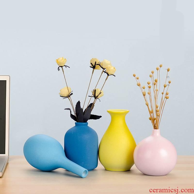 Ins Nordic ceramic vase furnishing articles dried flowers floret bottle contracted sitting room adornment TV ark, desktop flower arranging flowers
