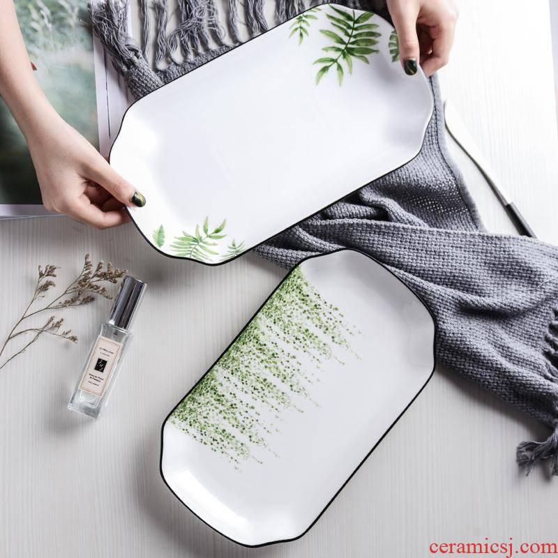 Fish plate dish dish creative household Nordic ins steamed Fish dish ceramic large rectangular cutlery set
