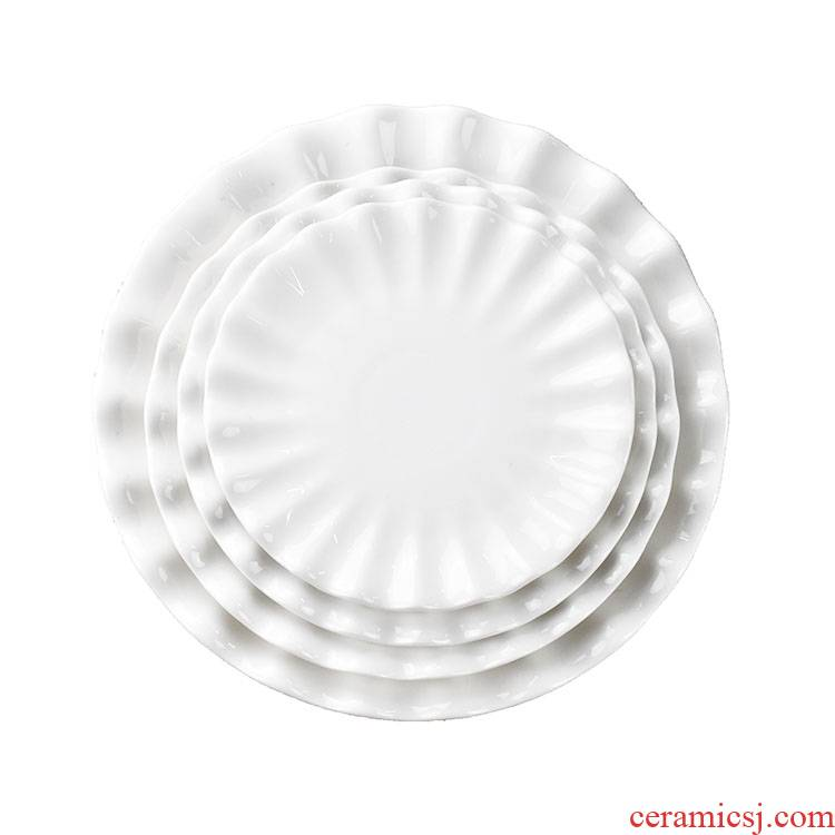 The New lotus leaf plate hotel restaurant irregular plates creative ceramic household food dish platter tableware FanPan plates
