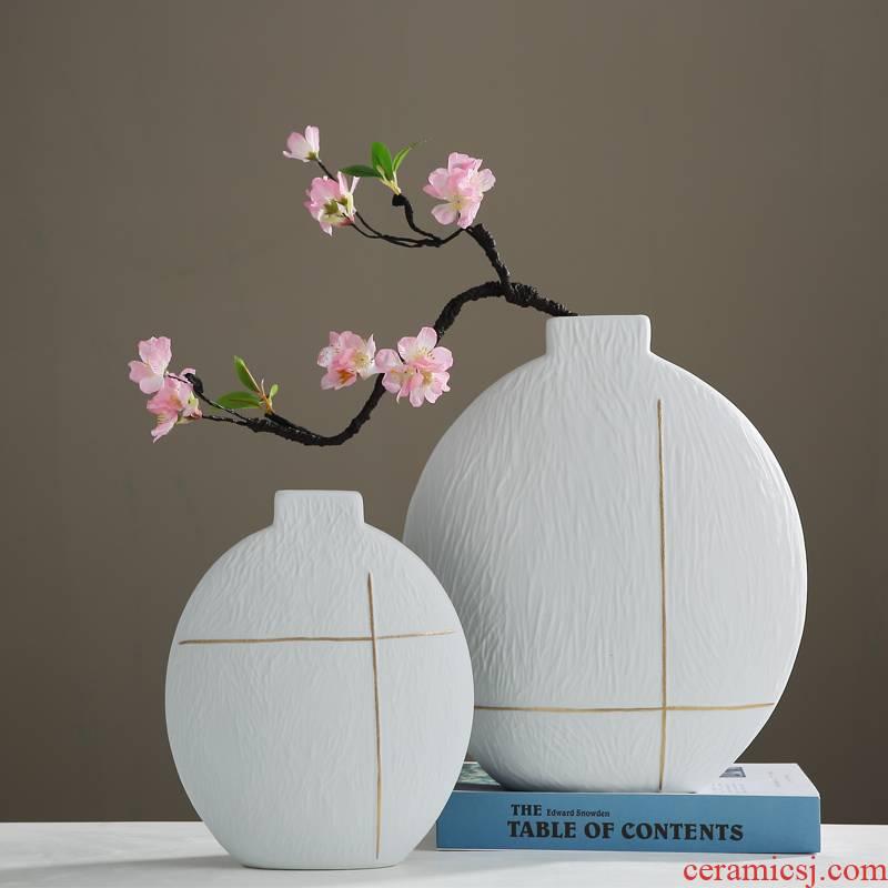 Jingdezhen new Chinese zen vase furnishing articles sitting room porch TV cabinet table flower arranging dried flower ceramic decoration