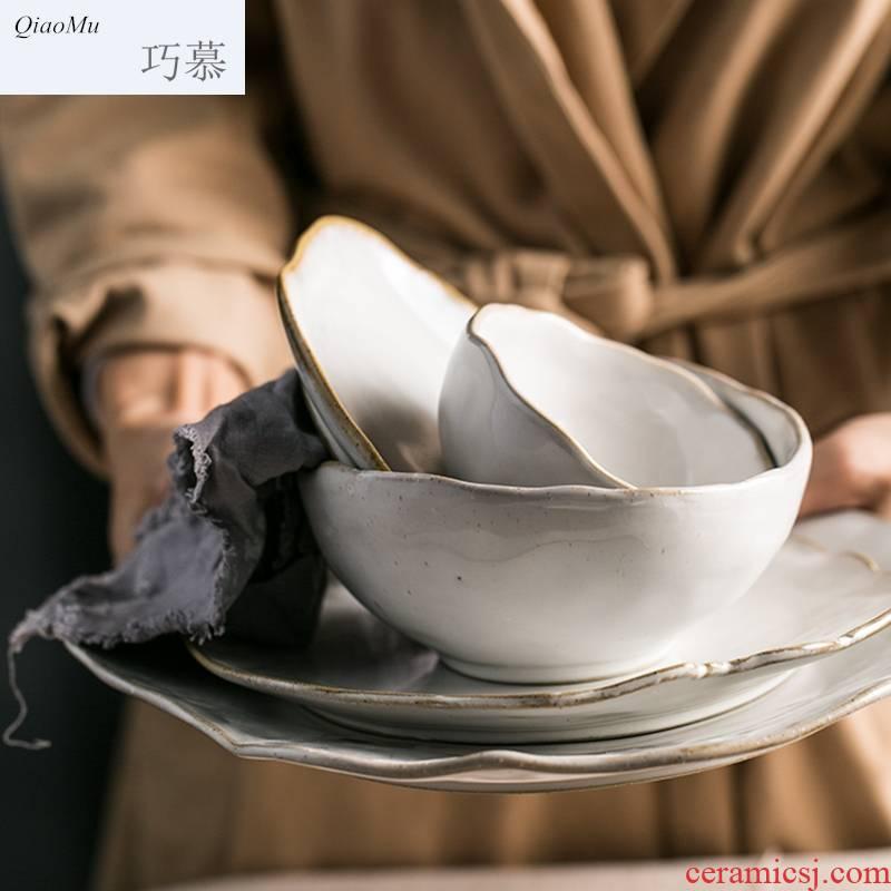 Qiao mu irregular tableware ceramic rice bowl dish bowl of salad bowl dish plate