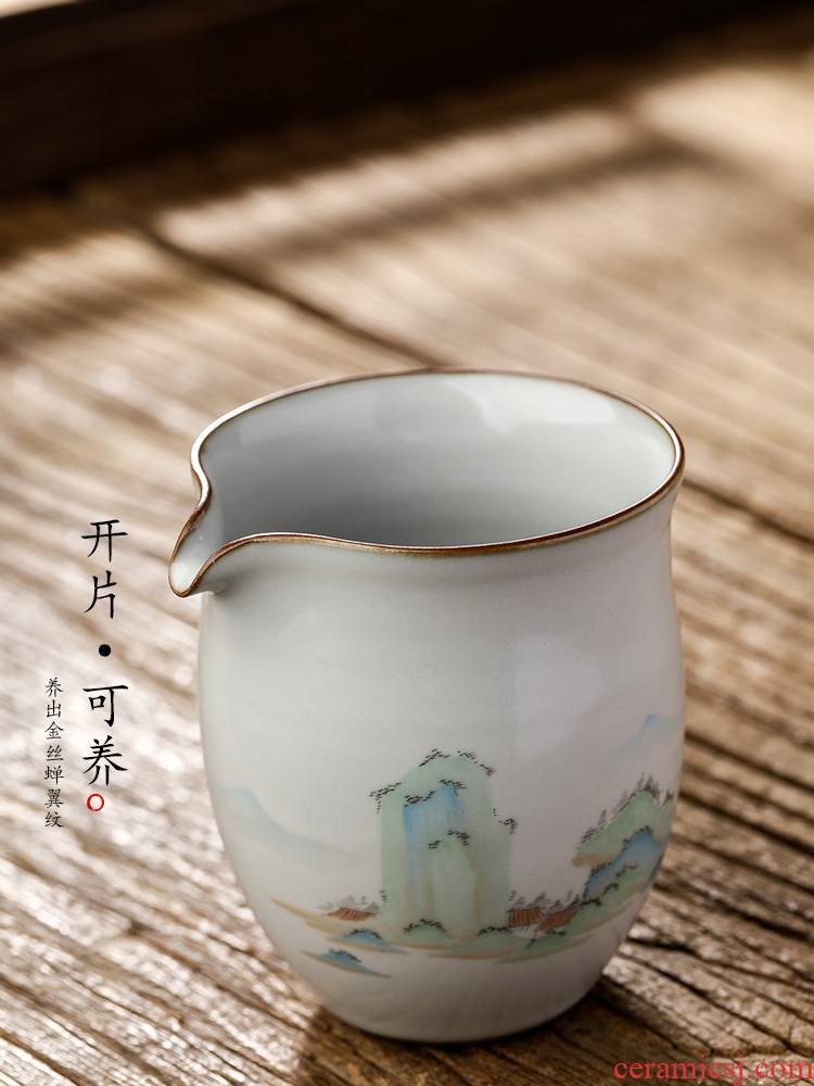Pure manual your up with jingdezhen ceramic fair keller kung fu tea set hand - made scenery figure high - temperature tea is large