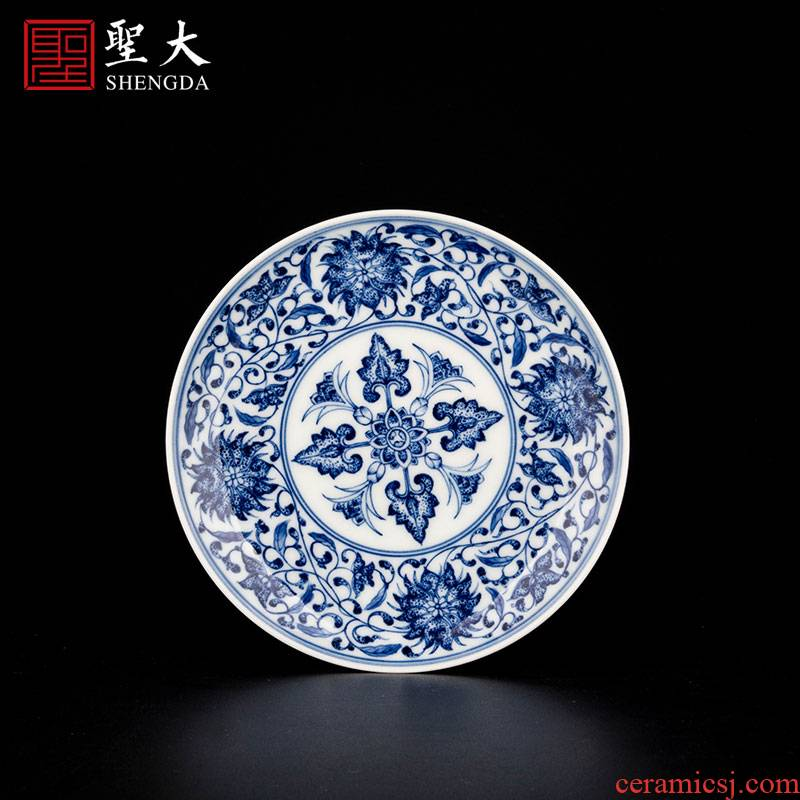 Holy big blue - and - white ceramics maintain point bound branch treasure phase a cup of tea pot bearing tray of jingdezhen manual hand - made tea set