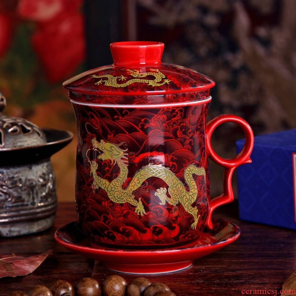 Qiao mu dragon cup of jingdezhen ceramic tea cups cup with cover filter office glass tea cup