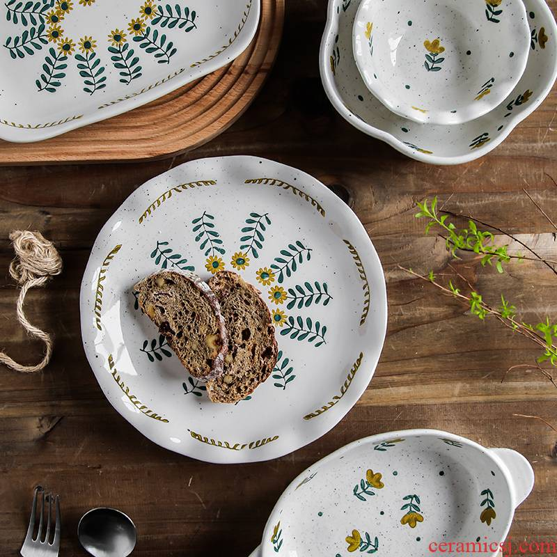 Individuality creative coarse pottery household utensils Japanese ears pan express waves under the glaze color floret rice bowls plates