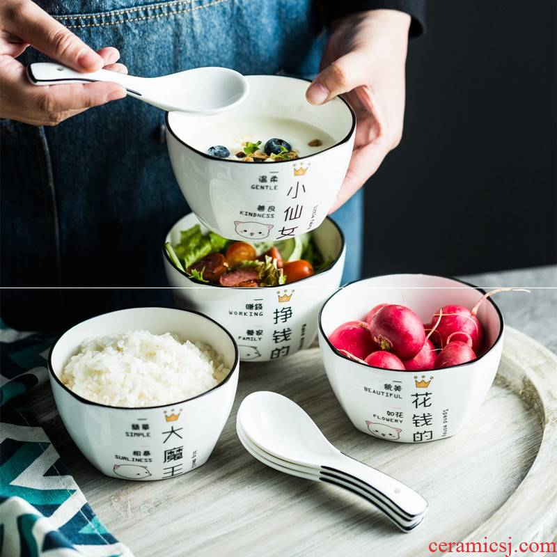 The New rice bowls ceramic tableware suit creative square household dish bowl spoon, soup bowl salad four eat bread and butter