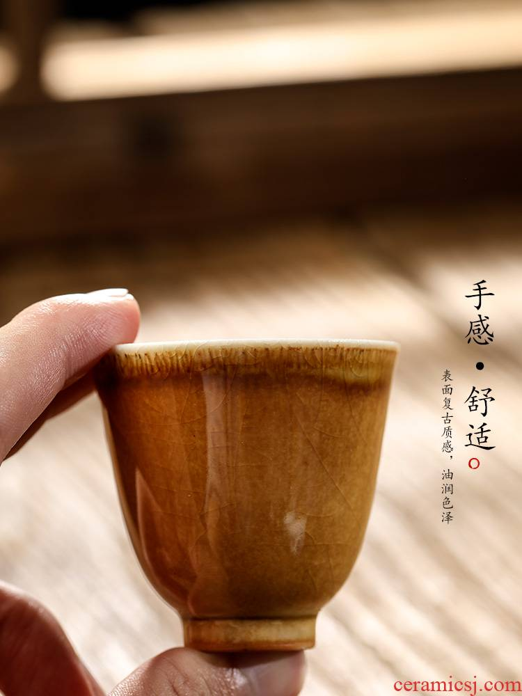 Jingdezhen kongfu tea master cup single cup pure manual firewood sample tea cup single color glaze ceramic cups