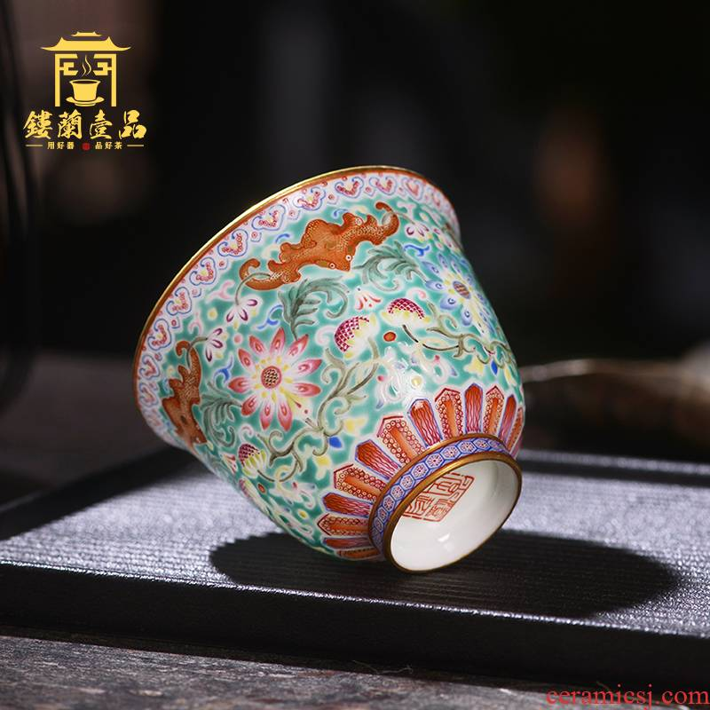 Jane don spill green space around branch lotus master cup of jingdezhen ceramic hand - made single CPU kung fu tea cup sample tea cup individuals