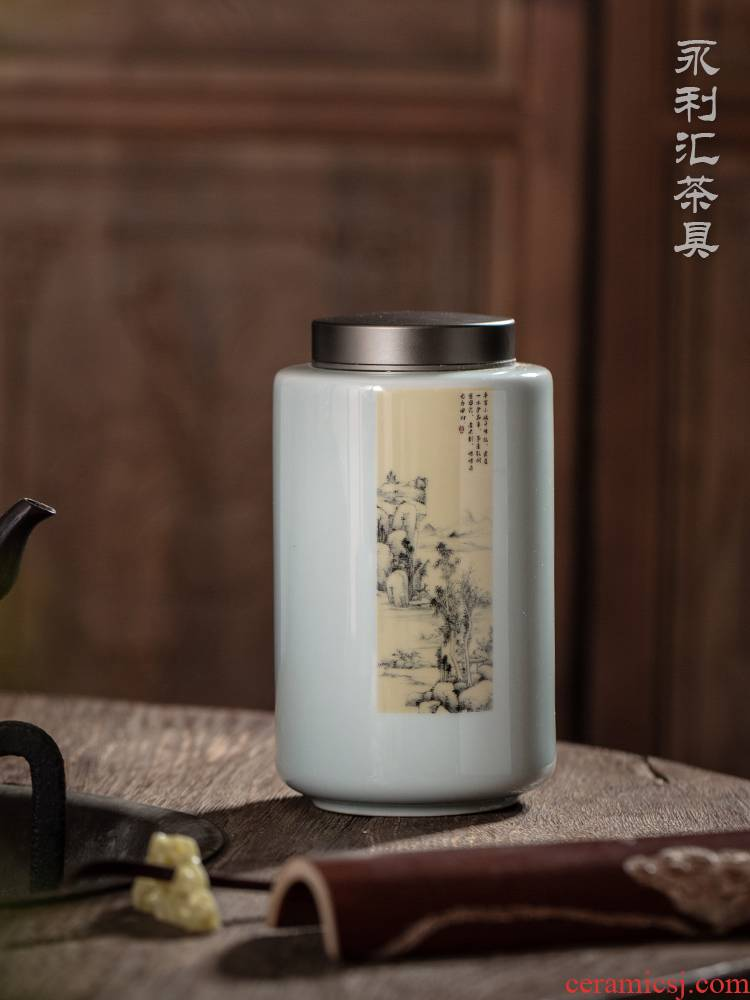 Jingdezhen ceramic tea pot second half archaize seal pot large blue and white porcelain is empty as cans of new Chinese style