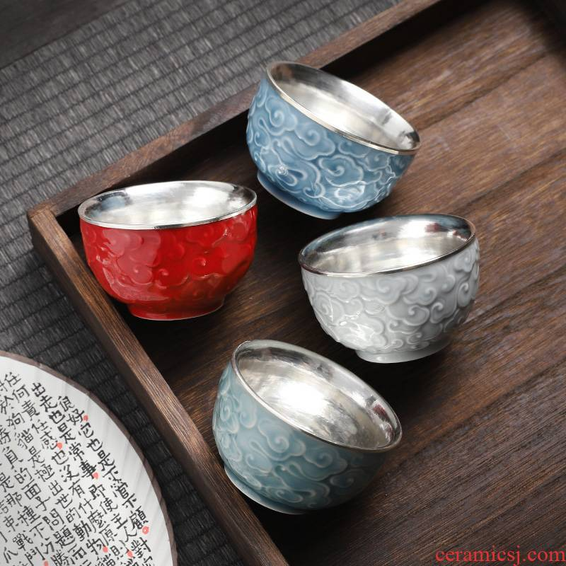 Jingdezhen silvering tea cup silver 999 your up, masters cup bowl male individual special lady small tea cups