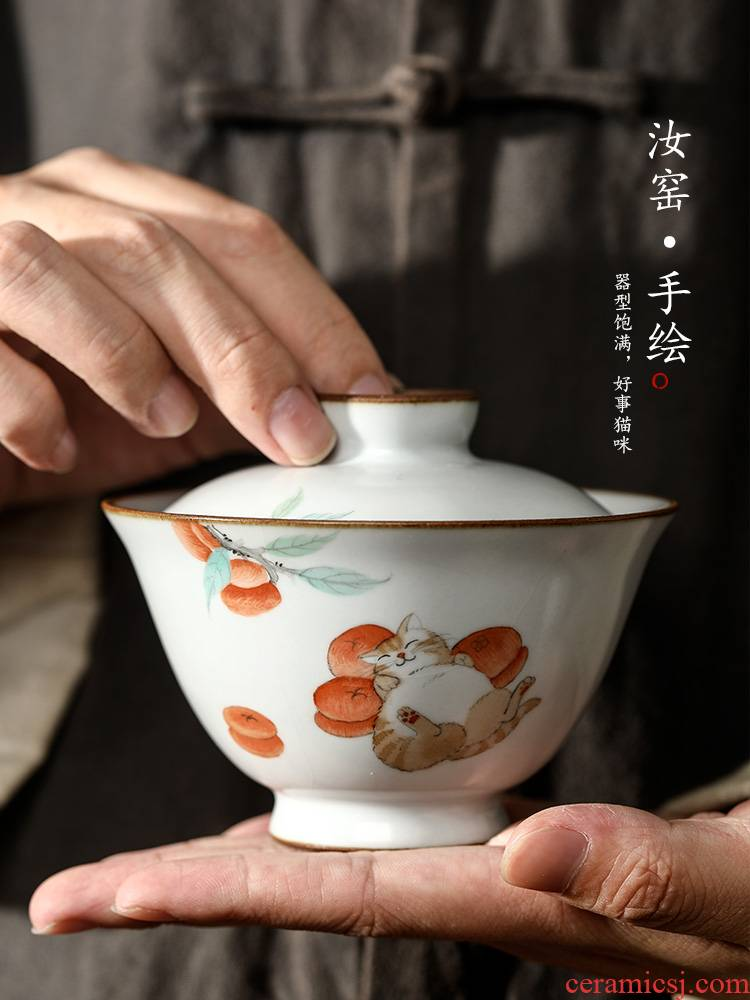 Jingdezhen hand - made the cat tureen tea cups hot large your up with pure manual proof bowl upset open tea set