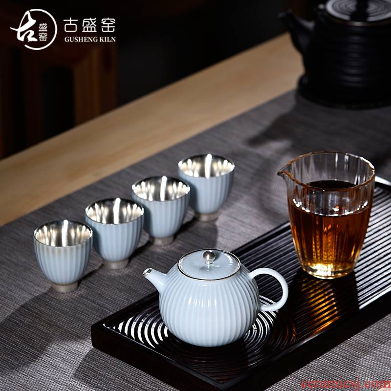 Ancient sheng up new ceramic coppering. As for four silver in the world of mortals love pure silver tea set office home make tea