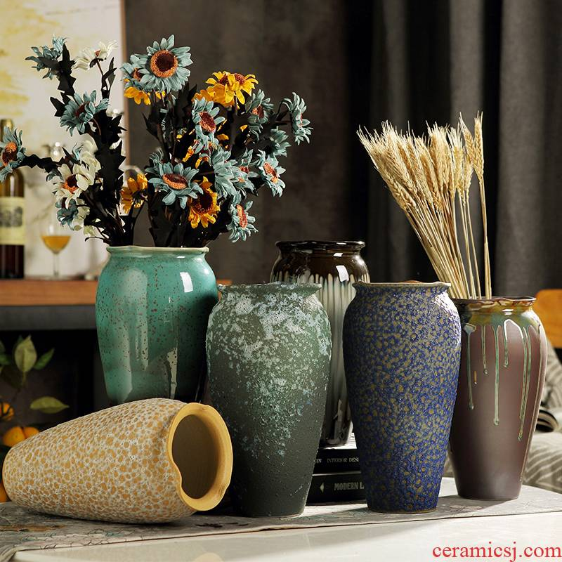 Decorative ceramic hydroponic flower vase to restore ancient ways do old furnishing articles furnishing articles sitting room jingdezhen coarse pottery table arranging flowers