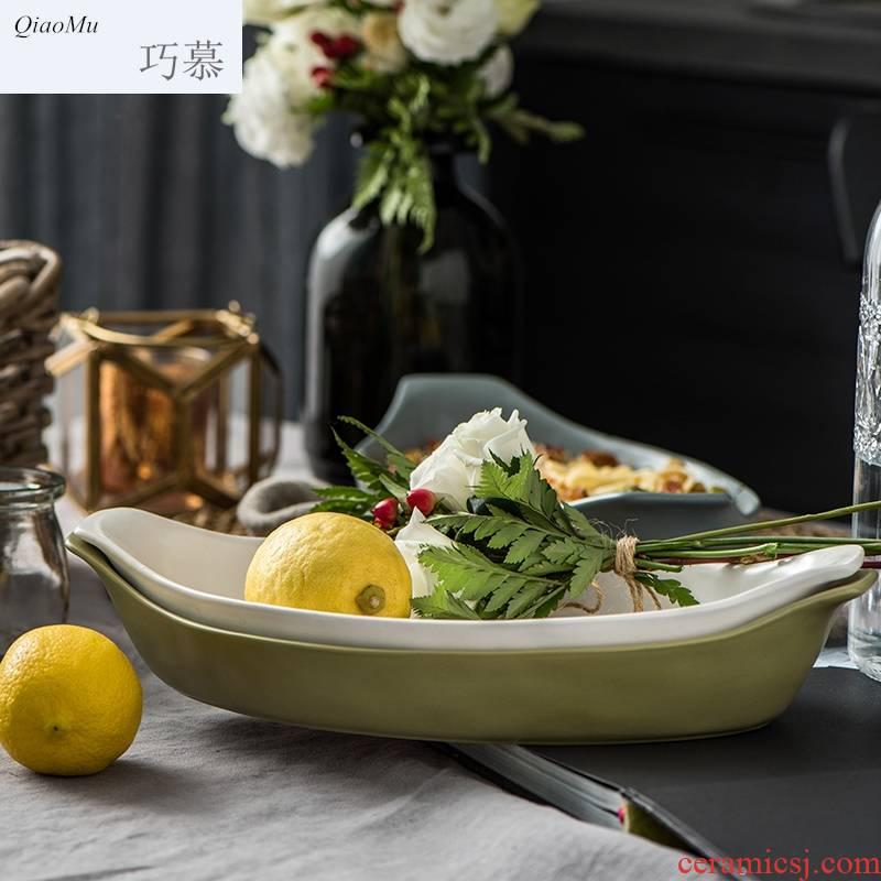Qiam qiao mu creative American household ceramics tableware microwave large ears fish dish plate of Manhattan