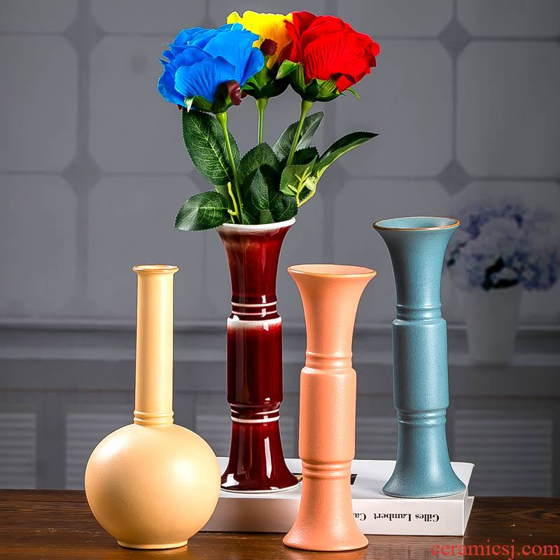 The Nordic ceramic flower flower arranging bottles of The sitting room, dining - room American office desk creative household adornment handicraft furnishing articles