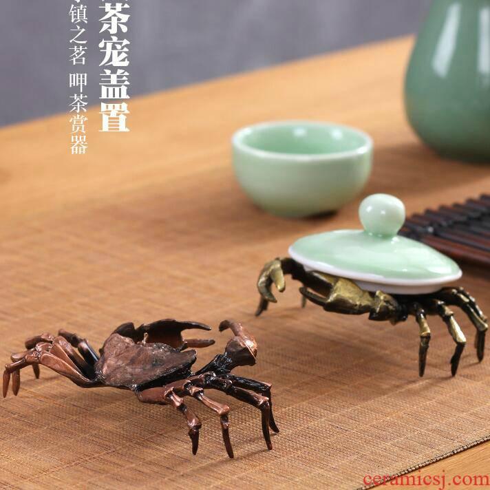 Iron pot of rear cover ants grasshopper it cover holder frame spoil kung fu tea tea tea accessories crab pot lid