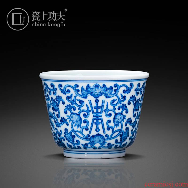 Jingdezhen porcelain on kung fu hand - made porcelain master cup ceramic cups single cup sample tea cup high - grade kung fu tea set
