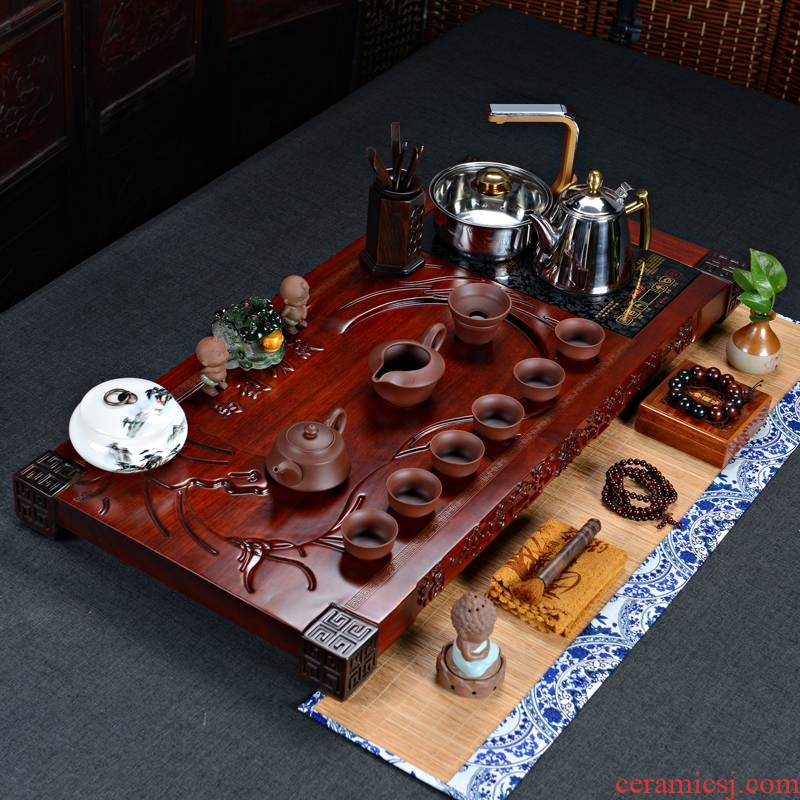 Qiao mu purple sand tea set the whole piece of red pear success tea tray tea table voice induction cooker with a pack of mixture
