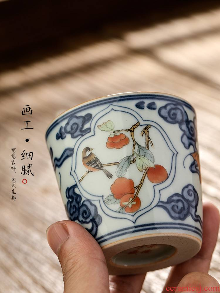 Jingdezhen ceramic tea set blue kung fu master cup sample tea cup single cup of pure manual teacups hand - made painting of flowers and tea light