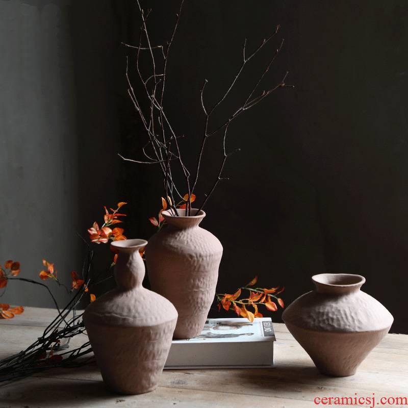 Sitting room ceramic vase mesa study Japanese zen ideas dried flower arranging flowers furnishing articles table vintage home decoration