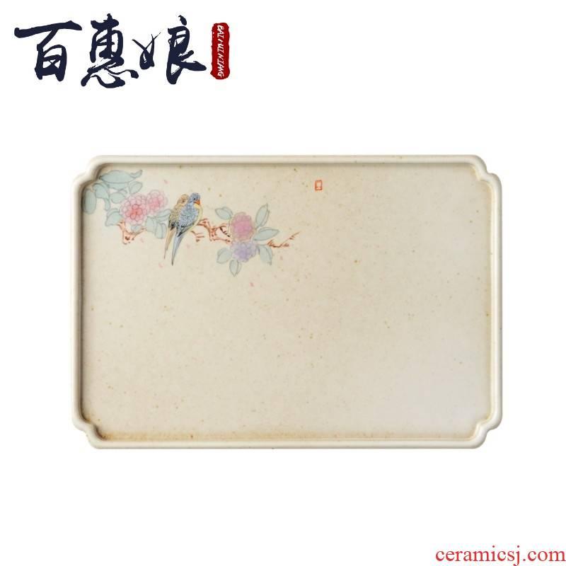 (niang pot dry tea tray of dried fruit tray ceramic flower kung fu tea set