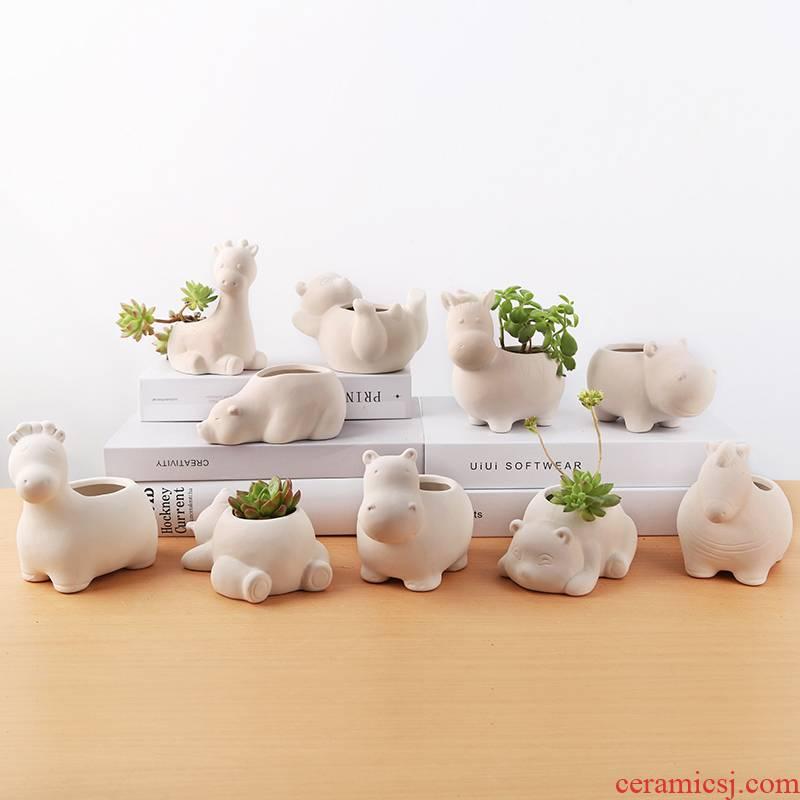 Meaty plant POTS polar bear flower pot in creative express animals thumb basin, ceramic
