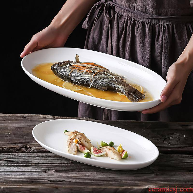 The Food dish ceramic household Japanese - style tableware plate number plates rectangular fish dish of steamed fish creative deep fish dish of northern Europe