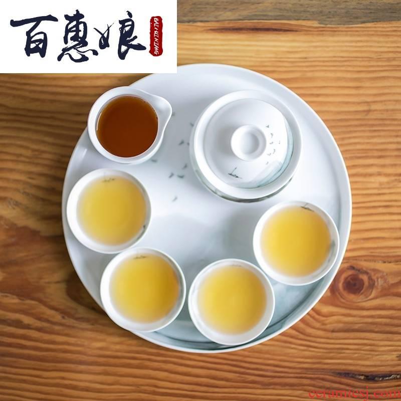 (niang ink jiangnan tureen suit jingdezhen artist hand - made all hand high temperature ceramic tea set