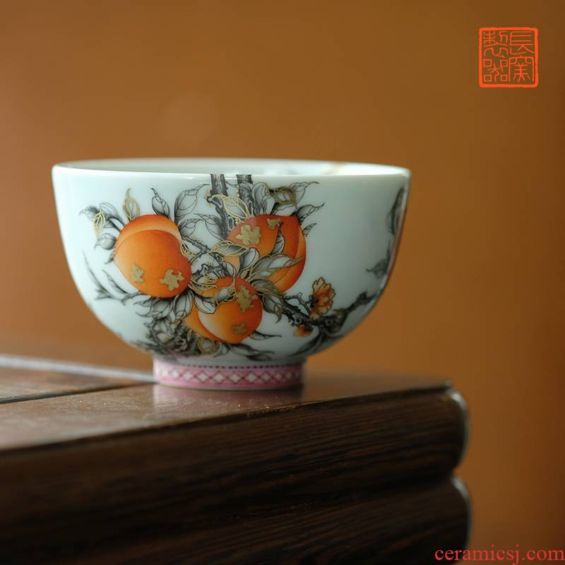 Offered home - cooked in hand - made color ink alum see colour peach red lines view flavour sample tea cup of jingdezhen ceramic cups tea by hand