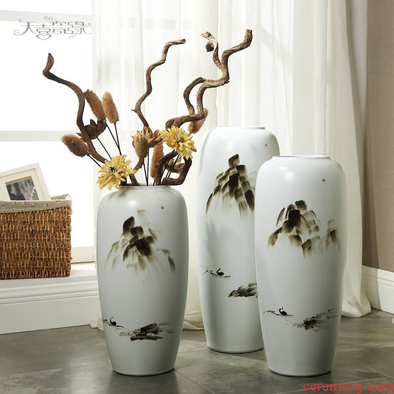 Modern ceramic vase of large sitting room porch zen process of new Chinese style decoration flower arranging, landing place