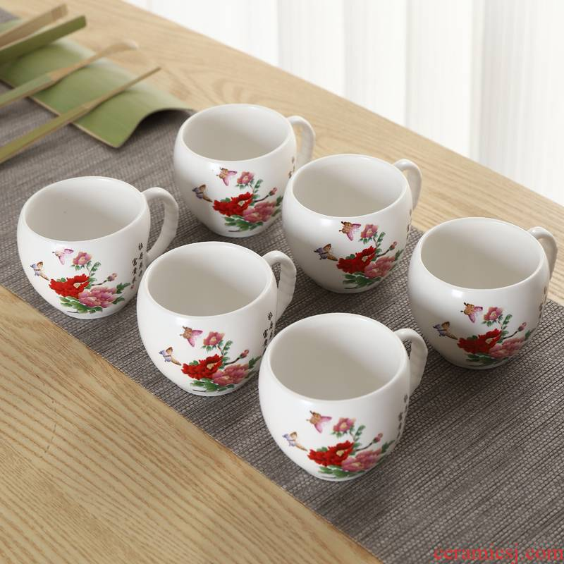 Ceramic cups with handle kunfu tea cup 125 ml six home not hot up red cup single CPU