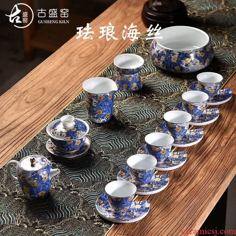 Ancient sheng up enamel see kung fu tea set gift tureen masters cup of a complete set of ceramic tea to wash to the home office