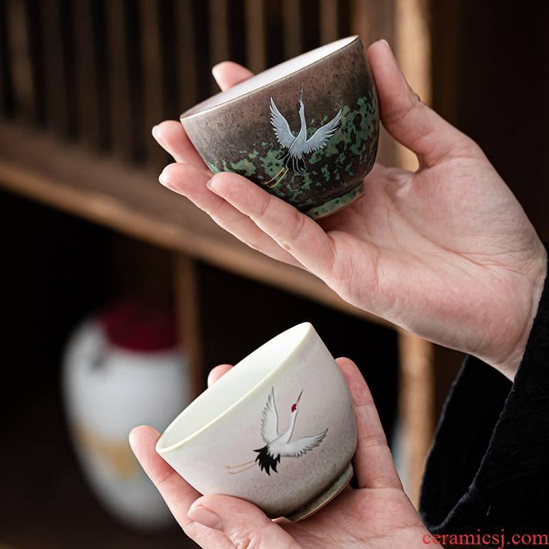 Japanese ceramics up mud glaze kung fu tea cups creative masters cup flying crane figure sample tea cup of tea cups